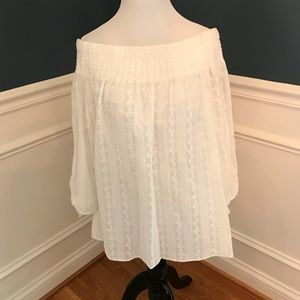 Of the shoulder white blouse